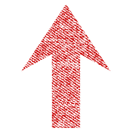 Arrow Up vector textured icon for overlay watermark stamps. Red fabric vectorized texture. Symbol with unclean design. Red ink rubber seal stamp with fiber textile structure.