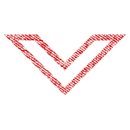 Arrowhead Down vector textured icon for overlay watermark stamps. Red fabric vectorized texture. Symbol with scratched design. Red ink rubber seal stamp with fiber textile structure.