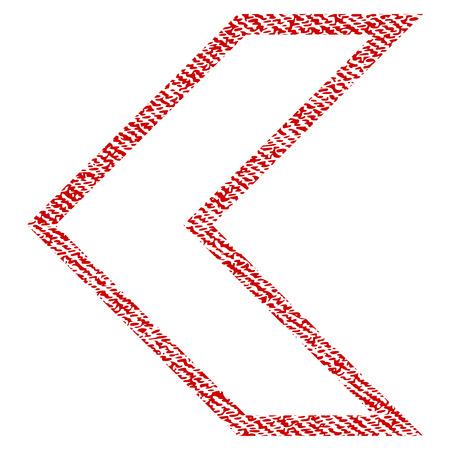 Arrowhead Left vector textured icon para sellos de marca de agua de recubrimiento. Tela roja textura vectorizada. Símbolo con diseño sucio. Sello de goma de tinta roja con estructura textil de fibra.