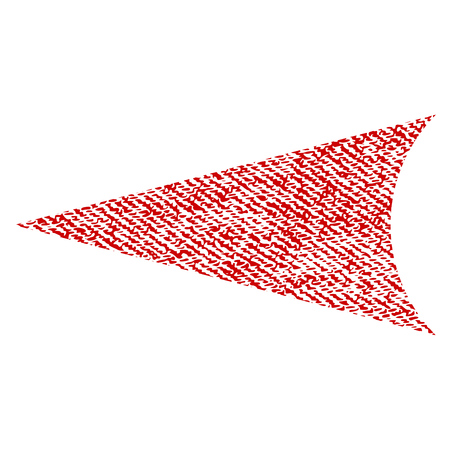 Arrowhead Left vector textured icon for overlay watermark stamps. Red fabric vectorized texture. Symbol with unclean design. Red ink rubber seal stamp with fiber textile structure.