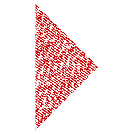 Arrowhead Right vector textured icon for overlay watermark stamps. Red fabric vectorized texture. Symbol with scratched design. Red ink rubber seal stamp with fiber textile structure. Illustration