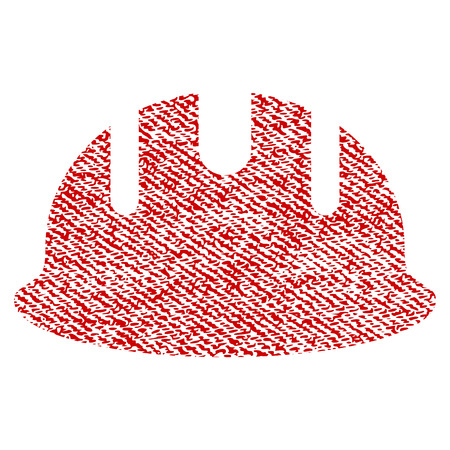 textile industry: Builder Hardhat vector textured icon for overlay watermark stamps. Red fabric vectorized texture. Symbol with dirty design. Red ink rubber seal stamp with fiber textile structure.