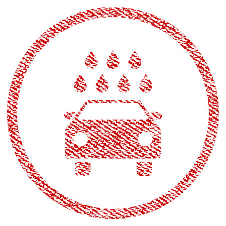 Car Shower vector textured icon for overlay watermark stamps. Red fabric vectorized texture. Symbol with scratched design. Red ink rubber seal stamp with fiber textile structure.