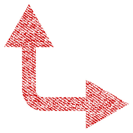 Bifurcation Arrow Right Up vector textured icon for overlay watermark stamps. Red fabric vectorized texture. Symbol with scratched design. Red ink rubber seal stamp with fiber textile structure. Illustration