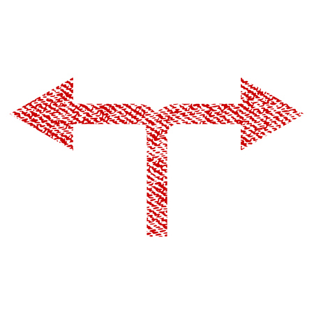 Bifurcation Arrows Left Right vector textured icon for overlay watermark stamps. Red fabric vectorized texture. Symbol with scratched design. Red ink rubber seal stamp with fiber textile structure.