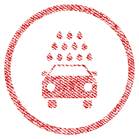 Car Wash vector textured icon for overlay watermark stamps. Red fabric vectorized texture. Symbol with dust design. Red ink rubber seal stamp with fiber textile structure. Illustration