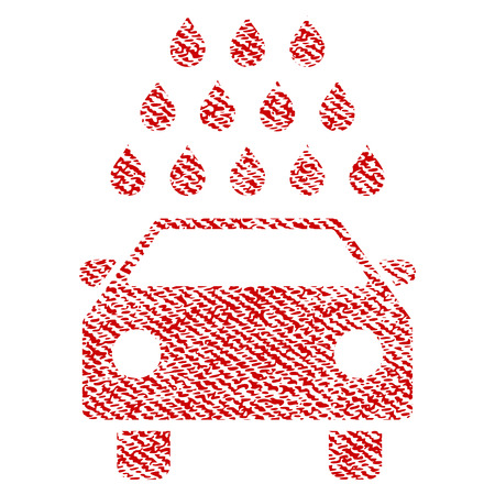 Car Wash vector textured icon for overlay watermark stamps. Red fabric vectorized texture. Symbol with scratched design. Red ink rubber seal stamp with fiber textile structure. Illustration