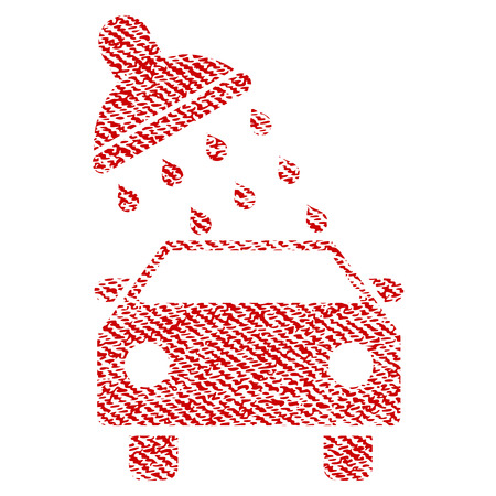 Car Wash vector textured icon for overlay watermark stamps. Red fabric vectorized texture. Symbol with unclean design. Red ink rubber seal stamp with fiber textile structure.