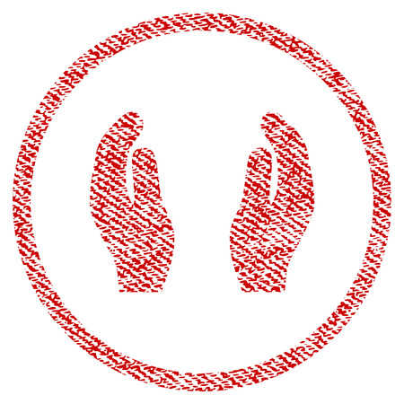 Care Hands vector textured icon for overlay watermark stamps. Red fabric vectorized texture. Symbol with scratched design. Red ink rubber seal stamp with fiber textile structure.