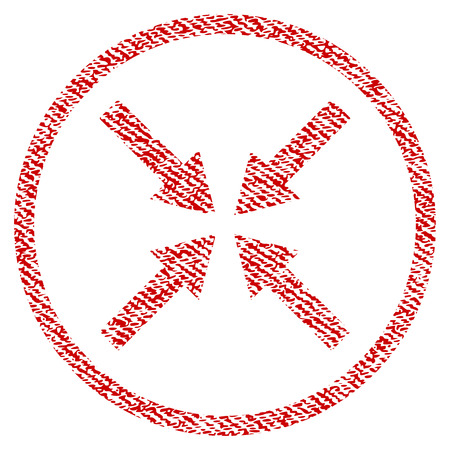 Center Arrows vector textured icon for overlay watermark stamps. Red fabric vectorized texture. Symbol with dirty design. Red ink rubber seal stamp with fiber textile structure. Illustration