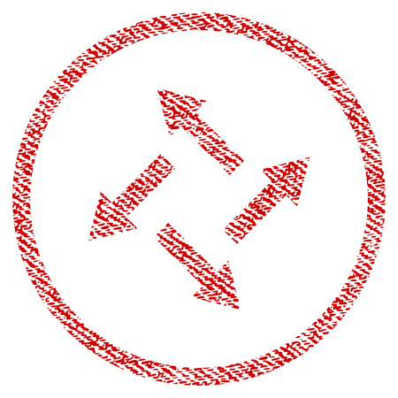 Centrifugal Arrows vector textured icon for overlay watermark stamps. Red fabric vectorized texture. Symbol with scratched design. Red ink rubber seal stamp with fiber textile structure.