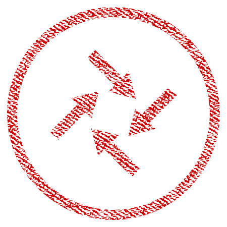 Centripetal Arrows vector textured icon for overlay watermark stamps. Red fabric vectorized texture. Symbol with unclean design. Red ink rubber seal stamp with fiber textile structure.