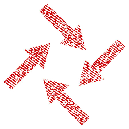 Centripetal Arrows vector textured icon for overlay watermark stamps. Red fabric vectorized texture. Symbol with dust design. Red ink rubber seal stamp with fiber textile structure.