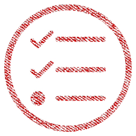 Checklist vector textured icon for overlay watermark stamps. Red fabric vectorized texture. Symbol with dirty design. Red ink rubber seal stamp with fiber textile structure. Çizim