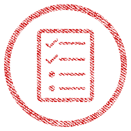 Checklist Page vector textured icon for overlay watermark stamps. Red fabric vectorized texture. Symbol with dirty design. Red ink rubber seal stamp with fiber textile structure.