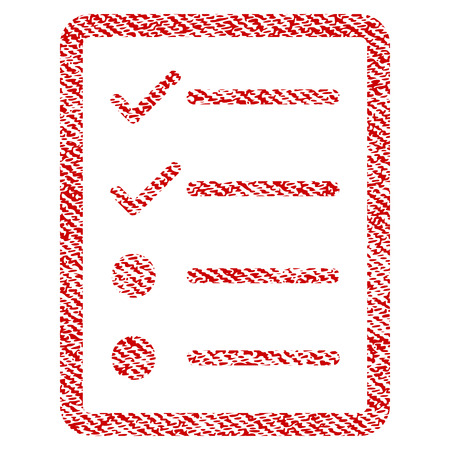Checklist Page vector textured icon for overlay watermark stamps. Red fabric vectorized texture. Symbol with scratched design. Red ink rubber seal stamp with fiber textile structure.