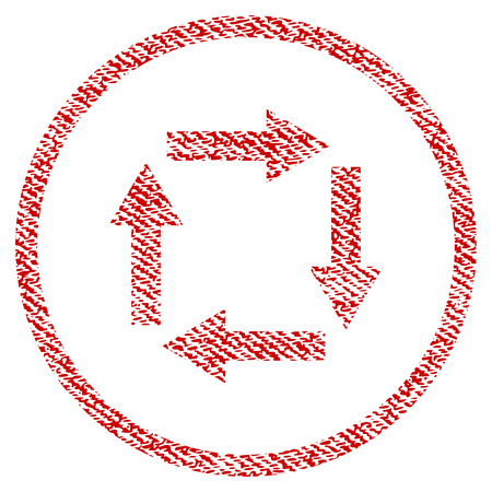 Circulation Arrows vector textured icon for overlay watermark stamps. Red fabric vectorized texture. Symbol with unclean design. Red ink rubber seal stamp with fiber textile structure.