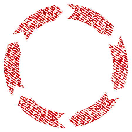 Circulation vector textured icon for overlay watermark stamps. Red fabric vectorized texture. Symbol with scratched design. Red ink rubber seal stamp with fiber textile structure. Illustration
