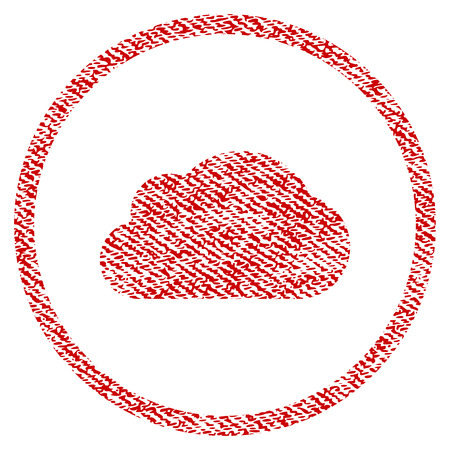 Cloud vector textured icon for overlay watermark stamps. Red fabric vectorized texture. Symbol with unclean design. Red ink rubber seal stamp with fiber textile structure.