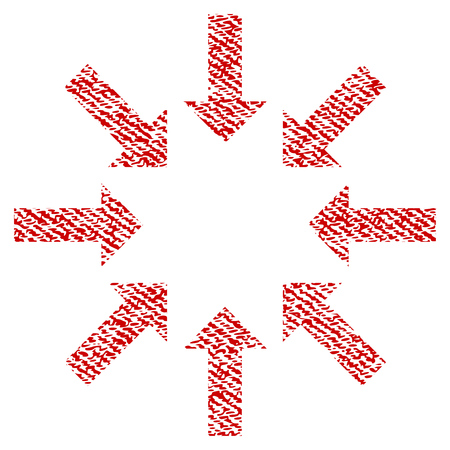 Collapse Arrows vector textured icon for overlay watermark stamps. Red fabric vectorized texture. Symbol with unclean design. Red ink rubber seal stamp with fiber textile structure.