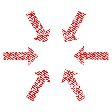 Compact Arrows vector textured icon for overlay watermark stamps. Red fabric vectorized texture. Symbol with dust design. Red ink rubber seal stamp with fiber textile structure.