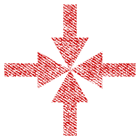 collide: Compress Arrows vector textured icon for overlay watermark stamps. Red fabric vectorized texture. Symbol with scratched design. Red ink rubber seal stamp with fiber textile structure. Illustration