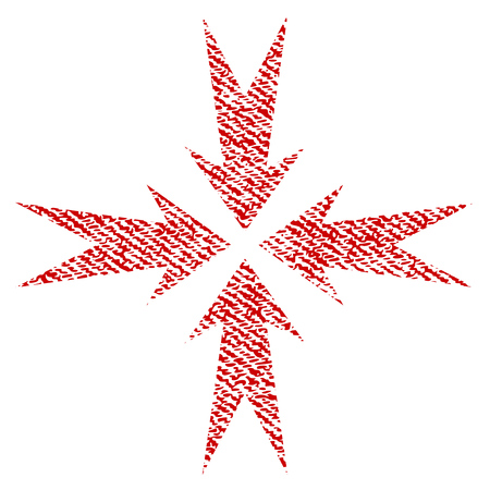 Compression Arrows vector textured icon for overlay watermark stamps. Red fabric vectorized texture. Symbol with dust design. Red ink rubber seal stamp with fiber textile structure.