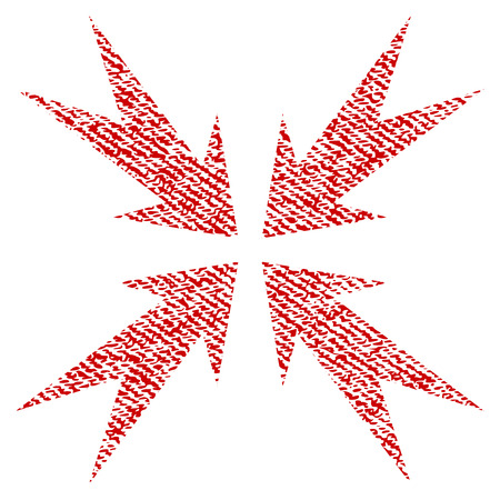 Compression Arrows vector textured icon for overlay watermark stamps. Red fabric vectorized texture. Symbol with dirty design. Red ink rubber seal stamp with fiber textile structure. Illustration