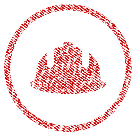Construction Helmet vector textured icon for overlay watermark stamps. Red fabric vectorized texture. Symbol with scratched design. Red ink rubber seal stamp with fiber textile structure.