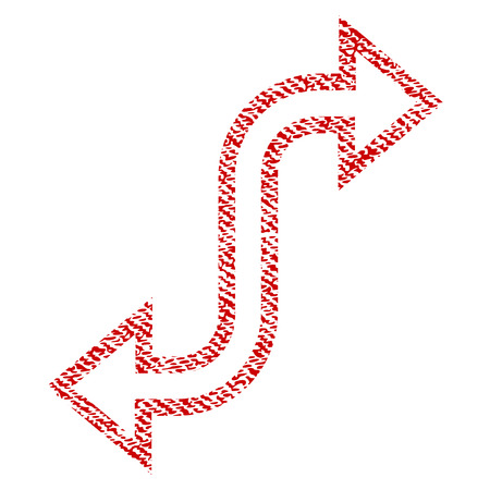 Curved Exchange Arrow vector textured icon for overlay watermark stamps. Red fabric vectorized texture. Symbol with dirty design. Red ink rubber seal stamp with fiber textile structure.