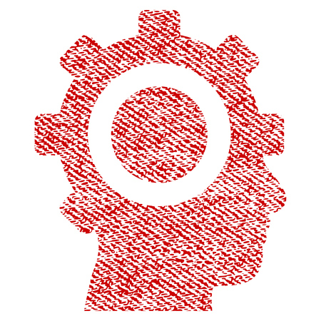 Cyborg Gear vector textured icon for overlay watermark stamps. Red fabric vectorized texture. Symbol with dirty design. Red ink rubber seal stamp with fiber textile structure. Illustration