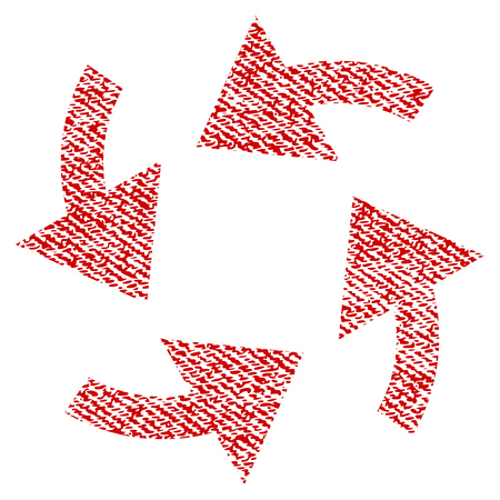 Cyclone Arrows vector textured icon for overlay watermark stamps. Red fabric vectorized texture. Symbol with dirty design. Red ink rubber seal stamp with fiber textile structure.