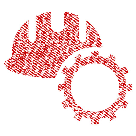 Development Hardhat vector textured icon for overlay watermark stamps. Red fabric vectorized texture. Symbol with scratched design. Red ink rubber seal stamp with fiber textile structure.