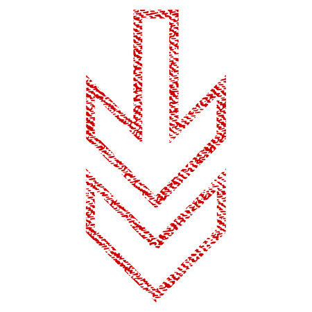 Direction Down vector textured icon for overlay watermark stamps. Red fabric vectorized texture. Symbol with dirty design. Red ink rubber seal stamp with fiber textile structure.