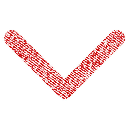 Direction Down vector textured icon for overlay watermark stamps. Red fabric vectorized texture. Symbol with scratched design. Red ink rubber seal stamp with fiber textile structure.
