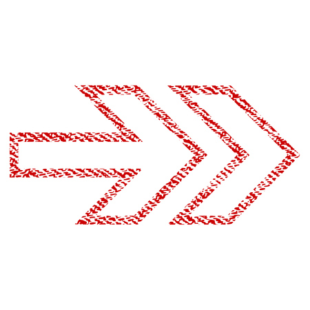 Direction Right vector textured icon for overlay watermark stamps. Red fabric vectorized texture. Symbol with unclean design. Red ink rubber seal stamp with fiber textile structure.
