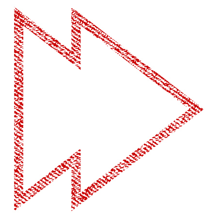 Direction Right vector textured icon for overlay watermark stamps. Red fabric vectorized texture. Symbol with dirty design. Red ink rubber seal stamp with fiber textile structure.