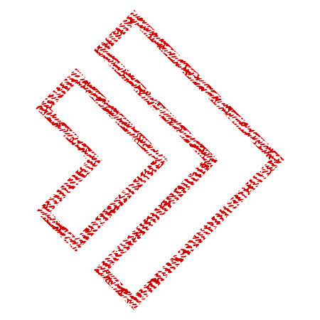Direction Right vector textured icon for overlay watermark stamps. Red fabric vectorized texture. Symbol with dust design. Red ink rubber seal stamp with fiber textile structure.