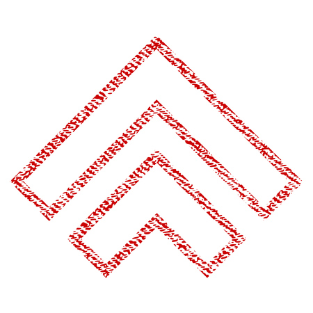 Direction Up vector textured icon for overlay watermark stamps. Red fabric vectorized texture. Symbol with dust design. Red ink rubber seal stamp with fiber textile structure.