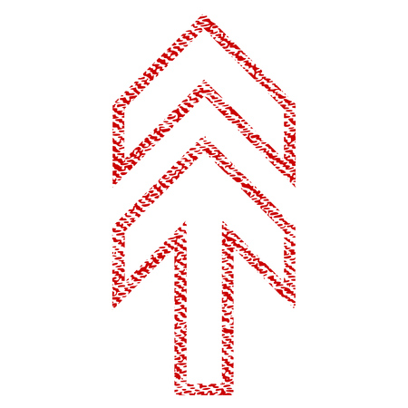 Direction Up vector textured icon for overlay watermark stamps. Red fabric vectorized texture. Symbol with unclean design. Red ink rubber seal stamp with fiber textile structure.
