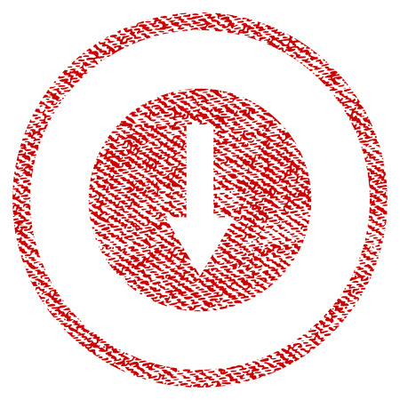 Down Rounded Arrow vector textured icon for overlay watermark stamps. Red fabric vectorized texture. Symbol with scratched design. Red ink rubber seal stamp with fiber textile structure.