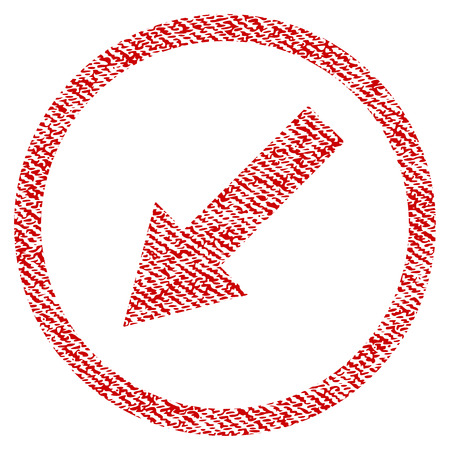 Down-Left Rounded Arrow vector textured icon for overlay watermark stamps. Red fabric vectorized texture. Symbol with dirty design. Red ink rubber seal stamp with fiber textile structure. Illustration