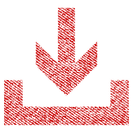 Downloads vector textured icon for overlay watermark stamps. Red fabric vectorized texture. Symbol with dirty design. Red ink rubber seal stamp with fiber textile structure.