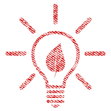Eco Light Bulb vector textured icon for overlay watermark stamps. Red fabric vectorized texture. Symbol with unclean design. Red ink rubber seal stamp with fiber textile structure.