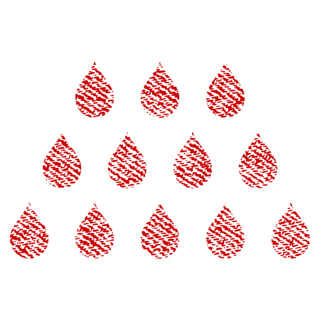 Drops vector textured icon for overlay watermark stamps. Red fabric vectorized texture. Symbol with unclean design. Red ink rubber seal stamp with fiber textile structure.