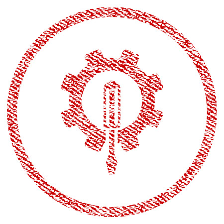 Engineering vector textured icon for overlay watermark stamps. Red fabric vectorized texture. Symbol with scratched design. Red ink rubber seal stamp with fiber textile structure.
