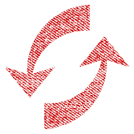 Exchange Arrows vector textured icon for overlay watermark stamps. Red fabric vectorized texture. Symbol with dust design. Red ink rubber seal stamp with fiber textile structure. Illustration