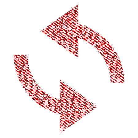 Les flèches Exchange vecteur icône texturée pour les tampons de filigrane de superposition. Texture de tissu rouge vectorisée. Symbole avec un design sale. Tampon encreur rouge avec structure textile en fibres.