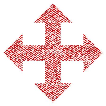 Expandir el icono con textura de vector para sellos de marca de agua superpuestos. Tela roja textura vectorizada. Símbolo con diseño sucio. Sello de goma de tinta roja con estructura textil de fibra.
