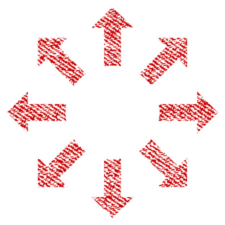 Expand Arrows vector textured icon for overlay watermark stamps. Red fabric vectorized texture. Symbol with scratched design. Red ink rubber seal stamp with fiber textile structure.